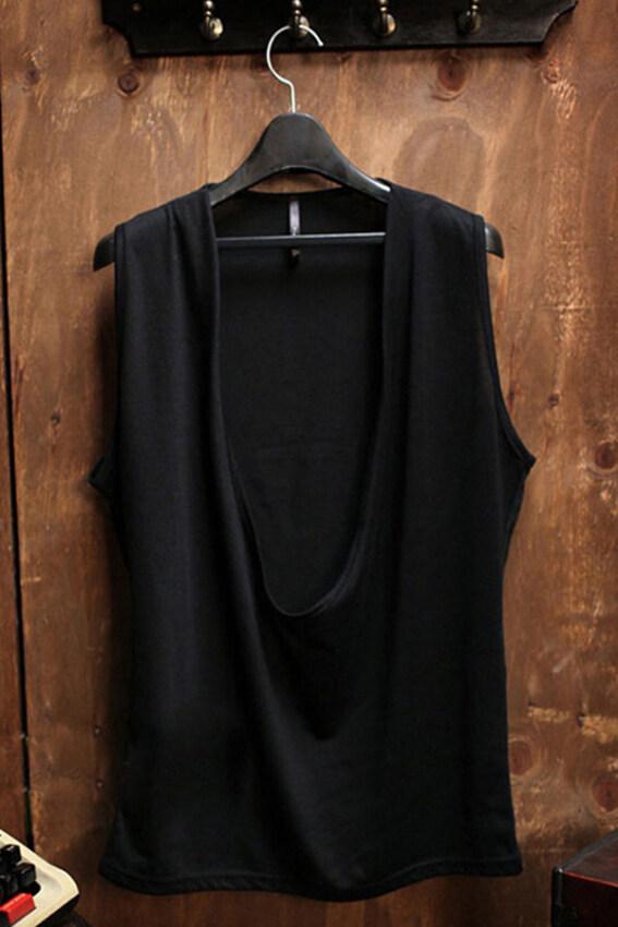 Men Sleeveless Casual Cotton Solid Color Summer Vest Waistcoat Top (Black) - intl ...