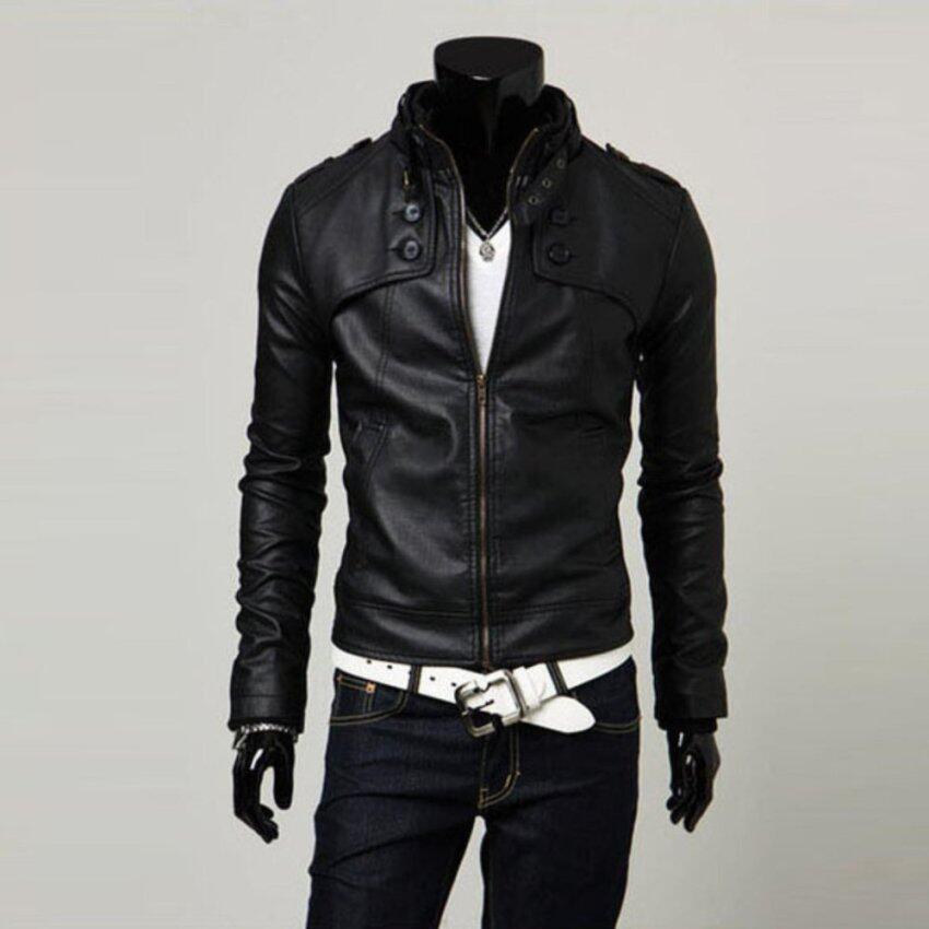 Men Stand Collar Motorcycle PU Leather Coat Jacket Slim Fit Outwear Black L - intl · >>>>