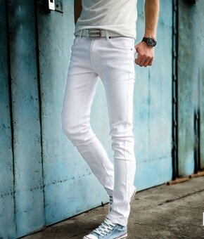 Mens Fashion Slim Casual Denim Pants Youth Cotton Skinny Men Jeans movement Fit Trousers - intl