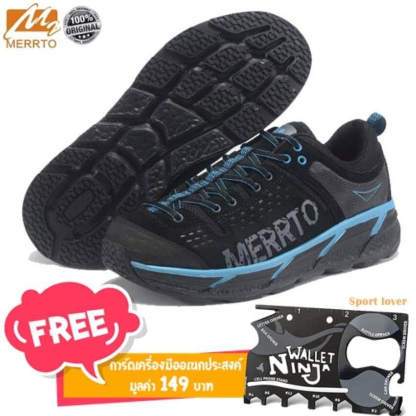 Merrto รองเท้าผู้ชาย รองเท้าหนังแท้เกรดพรีเมี่ยม ใส่เดิน ใส่เที่ยว รุ่น 8619 (สีดำแถบฟ้า ...