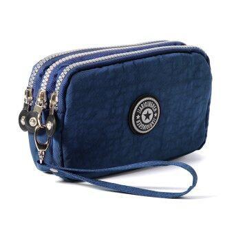 กระเป๋าสตางค์ยาวซิปไนล่อนหญิงเหรียญทองถือกระเป๋าถือกระเป๋าถือบัตรเครดิตโทรศัพท์+สายรัดข้อมือ (น้ำเงิน) MT308-SZ