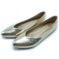 Mymelody รองเท้า แฟชั่น ผู้หญิง ส้นเตี้ย หุ้มส้น รุ่น MY0002 Gold