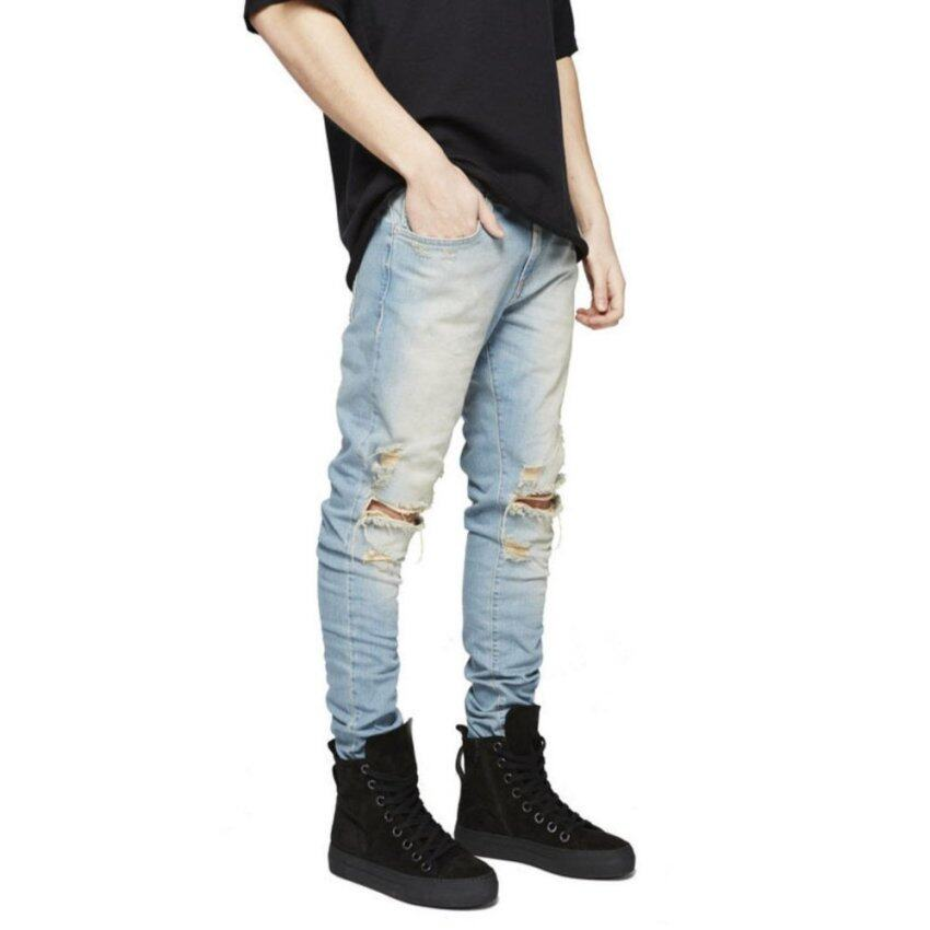 New Arrival Jeans Men Softener Stretch Jeans Light Wash Loose Harem Baggy Classic Jeans  ...