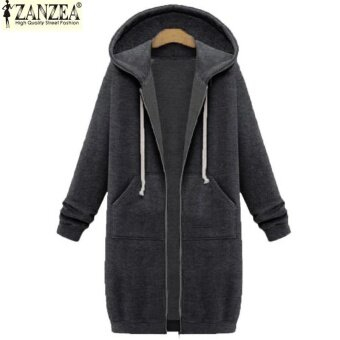 New Arrival ZANZEA Winter Coats Jacket Women Long Hooded Sweatshirts Coat Casual Zipper Outerwear Hoodies Plus Size (Dark Grey) - intl