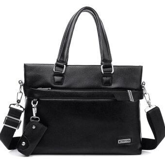 New Men's Business Leather Handbag Computer Bag Tote Bag (Black) - intl