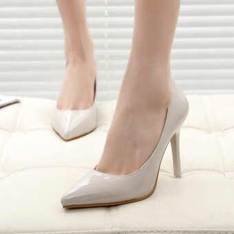 New, pointed, with high heels, shallow, thin, female, single shoes,wedding shoes (Grey) - intl