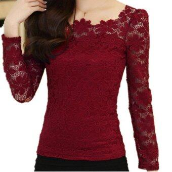 New Women Fashion Lace Crochet Blouse Long-sleeved Lace Tops PlusSize M-5XL Red Wine (Intl)
