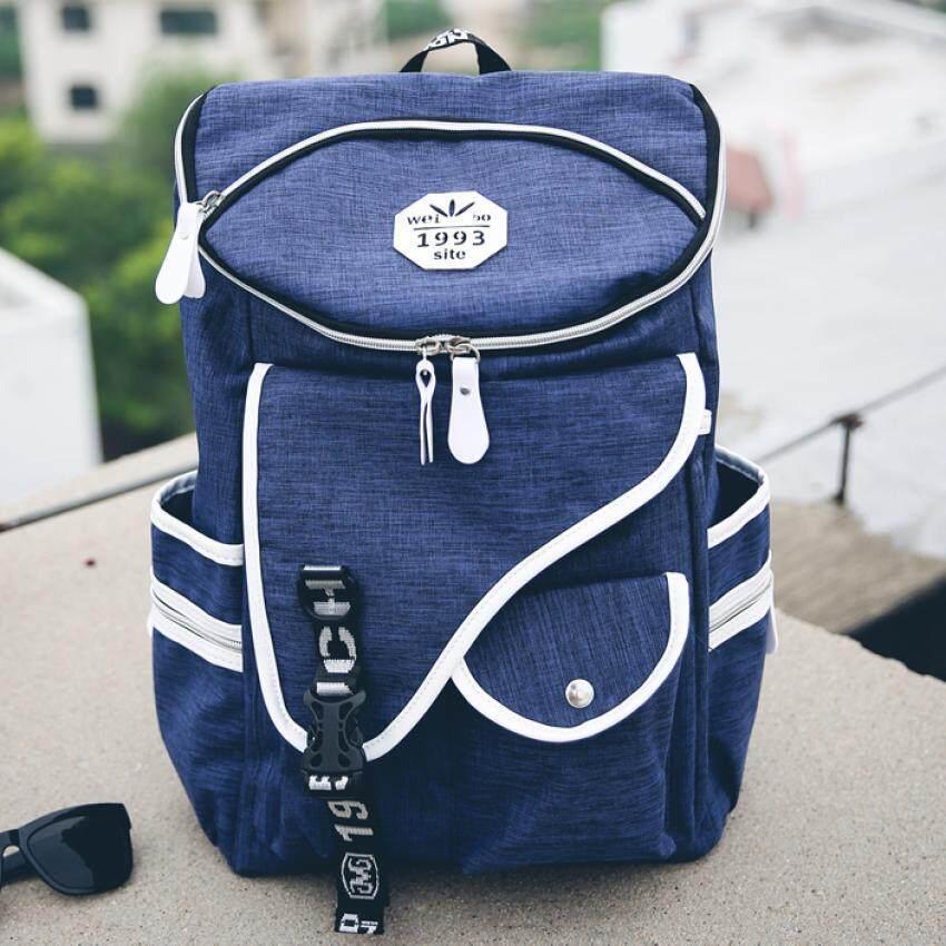 Open กระเป๋าเป้ กระเป๋าเดินทาง Backpack กระเป๋าเป้สะพายหลัง กระเป๋าแฟชั่น กระเป๋าแฟชั่นสไตล์วัยรุ่น (สีนำ้เงิน) 046
