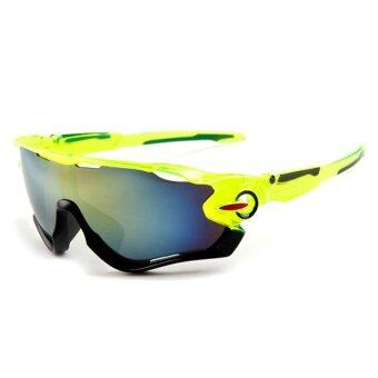 Outdoor sport sunglasses Men&Women colorful lenses Fashionsunglasses (Green Gold) - intl