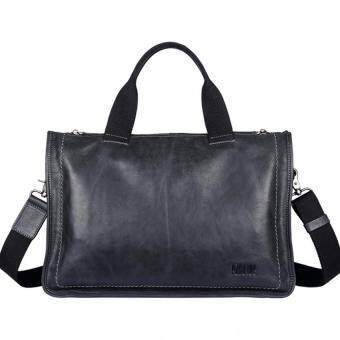Pabojoe Genuine Cowhide Leather RetroStyle Multi-Function Tote Bag (Black) - intl