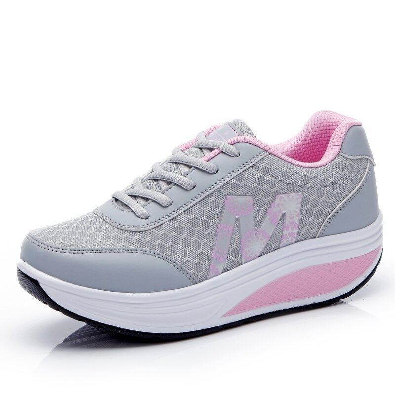 PINSV Women Breathable Casual Sneakers Low Cut?Grey? ...