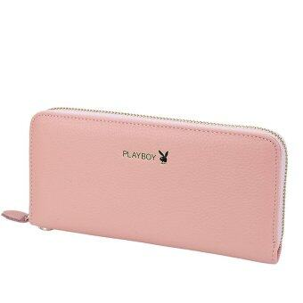 PLAYBOY Lady Wallet Woman Long new leather zipper Leather WalletFashion handbag (Pink) - Intl