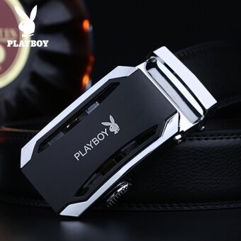 PLAYBOY Men's Belt Buckle Leather Belt Automatic Leather Belt Brand Leisure Suit Young Young Men - intl