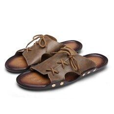 โรมันลื่นรองเท้าแตะ (สีกากี) ราคา 500 บาท(-18%)