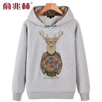 แนวโน้มบวกกำมะหยี่ฤดูหนาวใหม่ชายเสื้อสวมหัวเสื้อผู้ชายเสื้อกันหนาว (น้ำเงิน (อินเทรนด์กวาง))