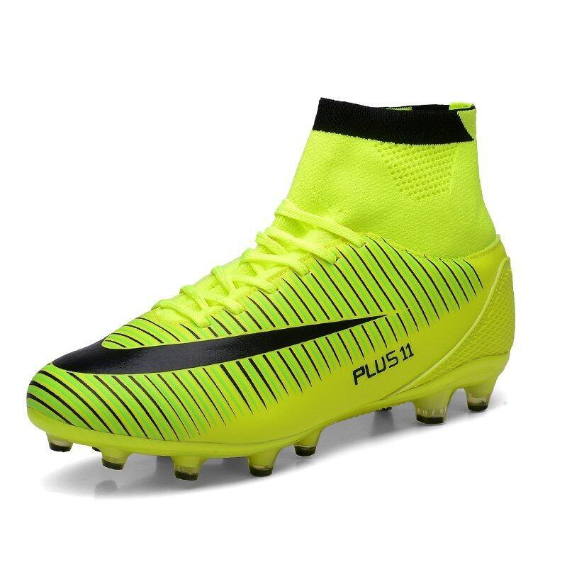 ฟุตบอลชายฟุตบอลอาชีพรองเท้ากีฬารองเท้าตะปูซ้อมสูงรองเท้าสีเขียว ...