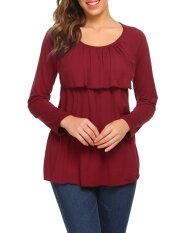 Promotion Women Long Sleeve Layered Ruffles Solid Casual Loose Fit T-Shirt Top (chili Red) - Intl ราคา 433 บาท(-58%)