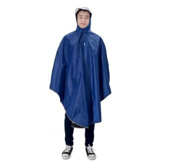Pudding Fashion men and women thickening and riding a single raincoat Blue - intl