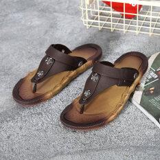 ชายลื่นรองเท้าแตะผู้ชาย (qx-852 สีน้ำตาล) ราคา 388 บาท(-75%)