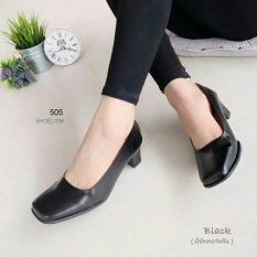 รองเท้าคัชชู ทรงสุภาพ สีดำ หนังนิ่ม ส้นสูง 2.5 นิ้ว
