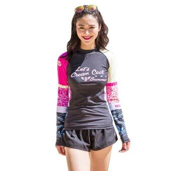 เสื้อ Rashguard Let's Cool Black-Pink ไซต์ S-L # H675