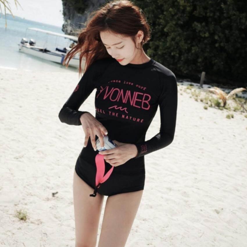 s077 ชุดว่ายน้ำแขนยาว Women's Bikini Sexy Neoprene Colorful Beach Bikini 2 Pieces Swimwear Swimsuit