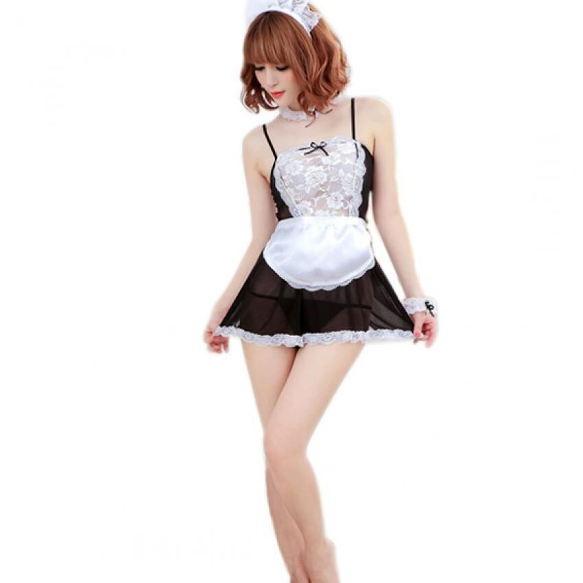 Sheer Lace Cosplay French Maid Lingerie