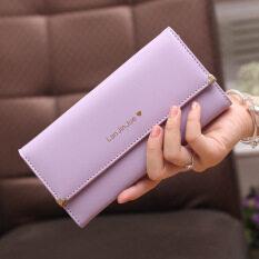 Shishang ที่มีคุณภาพสูงรักไตรพับนางสาวกระเป๋าสตางค์กระเป๋าถือยาว (สีม่วงอ่อน) ราคา 170 บาท(-50%)