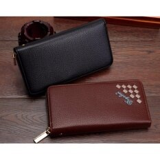 Shopnow กระเป๋าสตางค์ กระเป๋าตังค์ กระเป๋าใส่นามบัตร คลาสสิค มีสไตล์สวยเท่ห์ หนังกันน้ำลายตารางแถบข้าง สีน้ำตาลทรงยาว Wallet Brown ราคา 299 บาท(-78%)