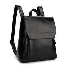 ST MartShop กระเป๋าเป้สะพายหลังหนังใหม่ รุ่น st168 (สีดำ)