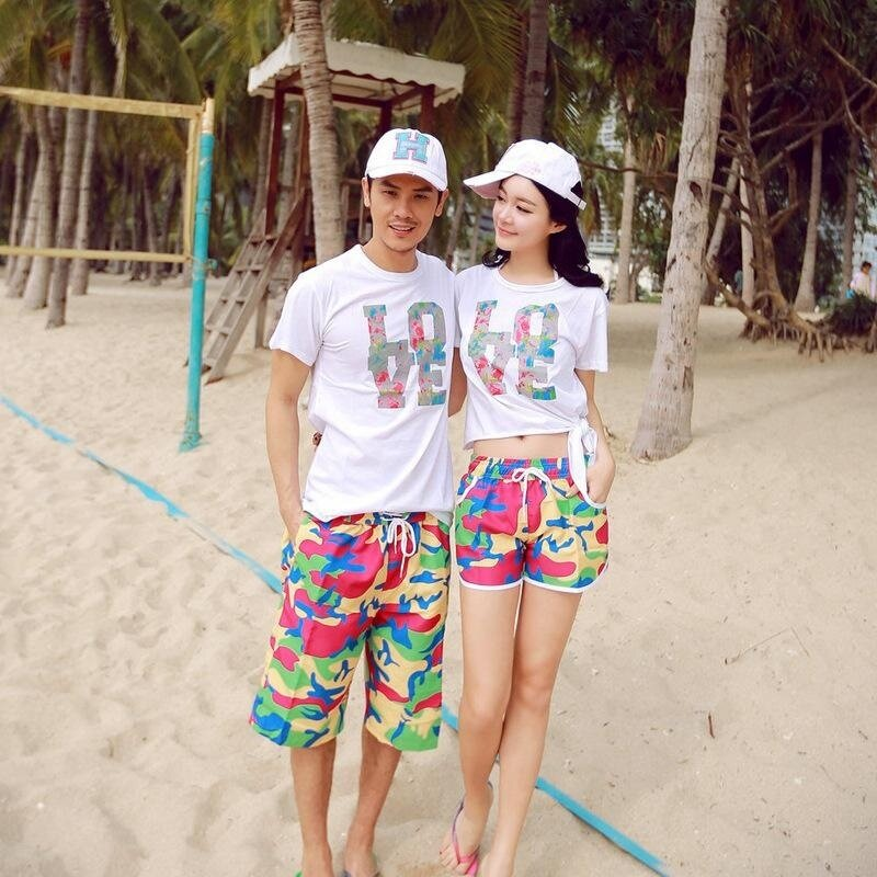 Summer lovers beach shorts sweethearts Quick-drying beach Camouflage colorful print short pants couple seaside shorts Women - intl