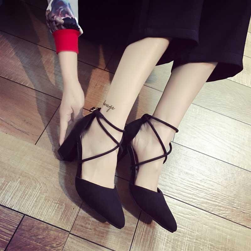 Summer Women's 'Block Kitten High Heels Suede Leather Shoes Pumps Pointed Sandals Ankle  ...