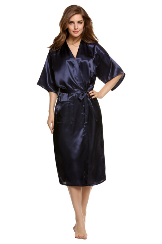 Sunweb Sexy Woman Silk Strappy Sleepwear Long Bath Robes Night Gown Pajamas ( Blue )