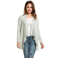 Supercart Best Women Collarless Long Sleeve Solid Asymmetrical Hem Cardigan Coat ( Grey ) - Intl ราคา 462 บาท(-67%)