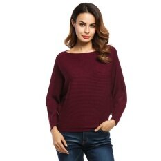 Supercart Best Women Slash Neck Batwing Sleeves Loose Knitted Pullover Ribbed Sweater ( Red ) - Intl ราคา 519 บาท(-67%)