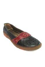 Trippershoes Genuine Leather รองเท้าหนังแท้ รุ่น Iris Fleurette Code 626-18 (สีดำ)