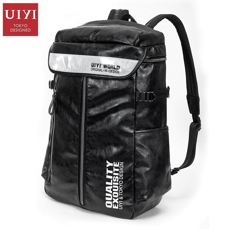 UIYI PU Backpack Men Travel Bag Fashion Large Capacity Black Letter Patchwork Leather Ba ...