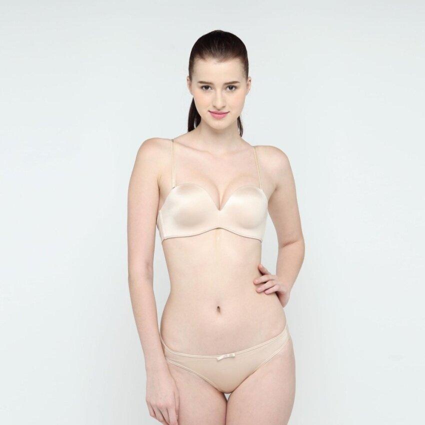 Wacoal Mood Fashion Bra เซ็ทชุดชั้นในกางเกงชั้นใน บราสลับสายบ่า 1/2 cup (สีเนื้อ/NUDE) - MM1490NN + MM6239NN