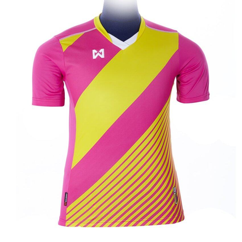 WARRIX SPORT เสื้อฟุตบอลพิมพ์ลาย WA-1523 ( สีชมพู-เหลือง )