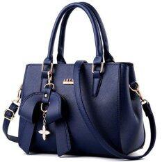wiweeland กระเป๋าถือ กระเป๋าสะพายไหล่ กระเป๋าสะพายพาดลำตัว กระเป๋าแฟชั่น (สีน้ำเงินเข้ม)