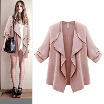 Women Autumn Spring Solid Long Sleeve Loose Plus Coat Cardigan - intl