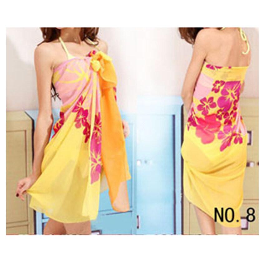 Women Chiffon Wrap Dress Beach Swimwear Bikini Scarf 8# - intl