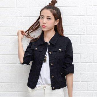 Women Denim Jackets Long Sleeve Short Jeans Jacket Woman Denim Coat-Black - Intl