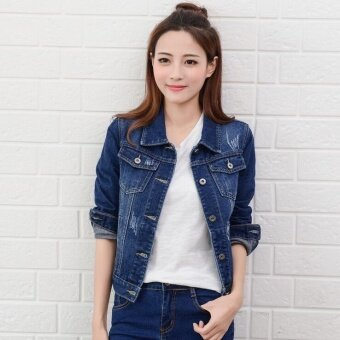 Women Denim Jackets Long Sleeve Short Jeans Jacket Woman Denim Coat-Dark blue - Intl