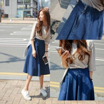 Women Denim Skirt Jeans High Waist Woman Skirts Womens Fashion Denim Knee-length A-line Elastic Waist All-match Blue Midi Skirt - intl