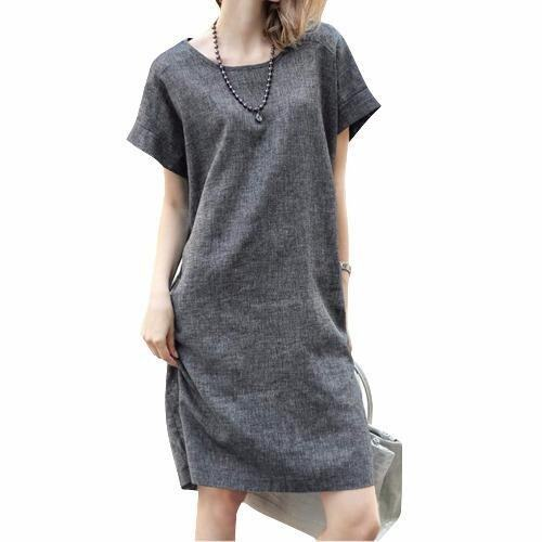 Women European Style Flax Dress Comfort Loose Dress Plus Size Dress - intl