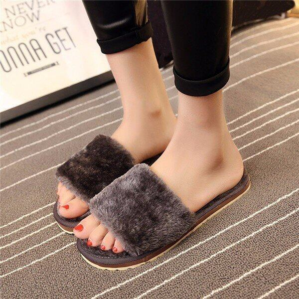 Women Home Indoor Open Toe Soft Shoes Mule Slipper Fur Winter Warm Flats Plush Grey - in ...