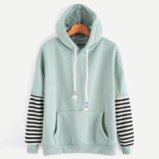 Women Long Sleeve Striped Hooded Casual Sweatshirt Pullover Hoodies Top Gn/l - Intl ราคา 472 บาท(-67%)