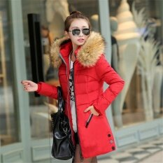 Women Long Winter Jacket Slim Female Coat Thicken Parka Down Cotton Clothing Hooded Red - intl