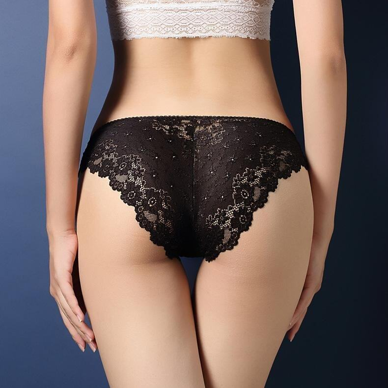 Women 's Sexy Low Waist Briefs(Black) - intl